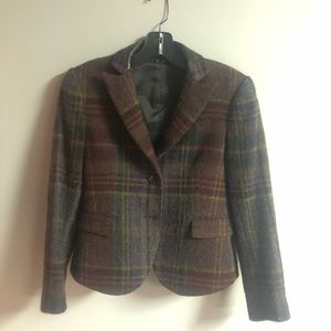 Theory Plaid Blazer with Leather Elbow Patches